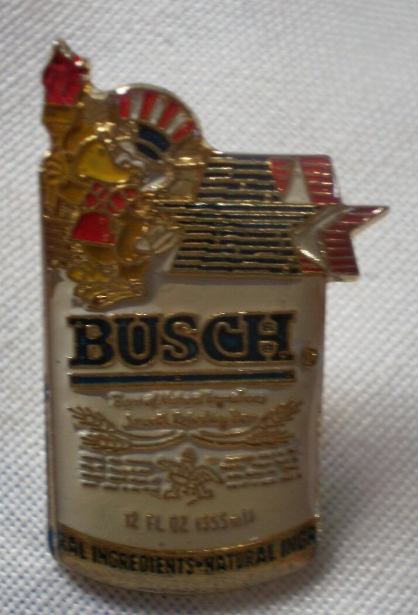 Busch Beer Can Olympic Mascot Vintage Enamel Pin Goldtone Metal