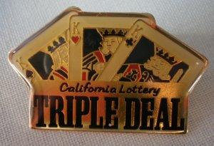 California Lottery Triple Deal Pin Enamel Cards Goldtone  Metal State