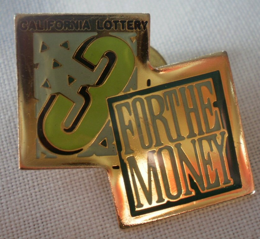 California Lottery 3 for the Money Pin Enamel Goldtone Metal State