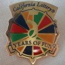 California Lottery 5 Years of Fun Pin Enamel Goldtone Metal State