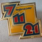 California Lottery 7 11 21 Pin Enamel Goldtone Metal State