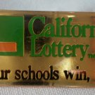 California Lottery Our Schools Win Too Pin Enamel Goldtone Metal State