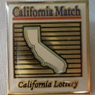 California Lottery California Match  Pin Enamel Goldtone Metal State