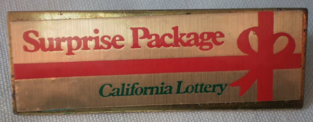 California Lottery Surprise Package Pin Goldtone Metal State