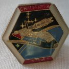 Challenger STS 6 Pin Space Shuttle Enamel Goldtone Metal Vintage Hexagon