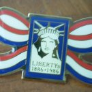 Statue of Liberty Pin Ribbon Enamel Goldtone Metal 1986