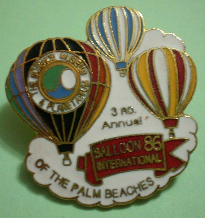 Balloon International Pin 1986 3rd Annual Hot Air Palm Beaches