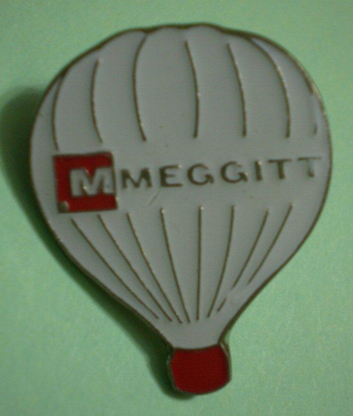 Meggitt Hot Air Balloon Pin White Enamel Silvertone Metal Rocket Eadge Company