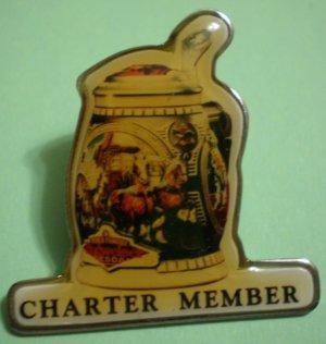 Budweiser Stein Mug Charter Member Pin Enamel Silvertone Metal Vintage Anheuser-Busch
