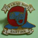 Black Bart's Bartian Pin Vintage Enamel Goldtone
