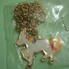 Unicorn Necklace Enamel Goldtone Metal Pendant Chain Horse