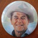 Ronald Reagan Button Pin Vintage 1980s Cowboy 2.5in