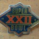 Super Bowl XXII Pin 22 Vintage 1988 NFL Enamel Silvertone Metal Peter David Inc