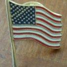 American Flag Pin Vintage Enamel Goldtone Metal