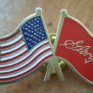 American Flag Red Glory 1989 Tristar Pictures Pin Vintage Enamel Goldtone Metal