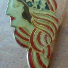 American Flag Lady Figural Pin Enamel Goldtone Metal