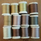 Belding Corticelli Wooden Spools Brown Thread Vintage Lot 12 Shades Beige Mercerized Cotton