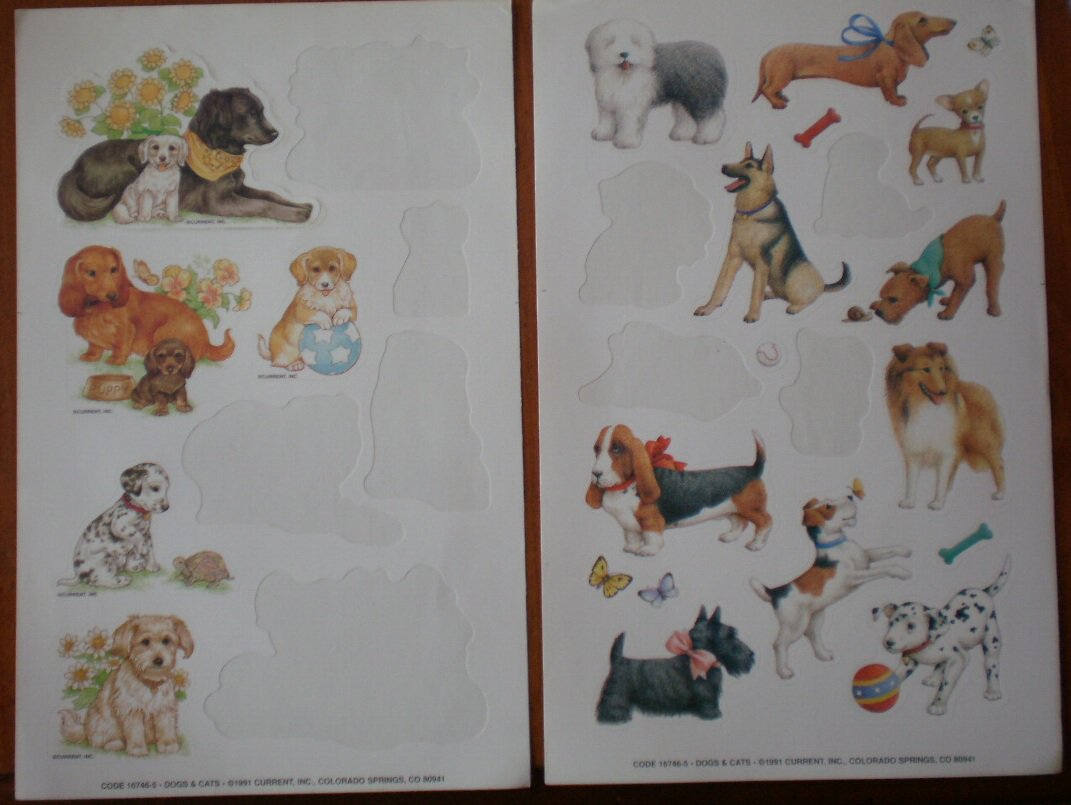 Dog Stickers 167465 1991 Current 15 on 2 sheets Puppies Vintage