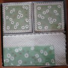 Vintage Luncheon Napkins and Coasters Green White Floral Embossed Germany In Box