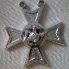 Pendant US Marine Corps Cross Eagle Earth Anchor Silvertone Metal HLP