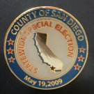 Election Pin Statewide Special San Diego County May 2009 Bullseye Custom Enamel Goldtone Metal