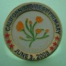 Election Pin California Direct Primary San Diego County 2008 Enamel Goldtone Metal Bullseye Custom