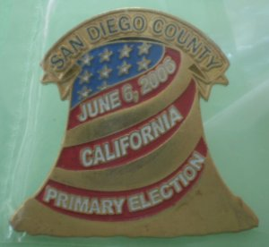 Primary Election Pin 2006 San Diego County Liberty Bell Goldtone Metal Image Pins