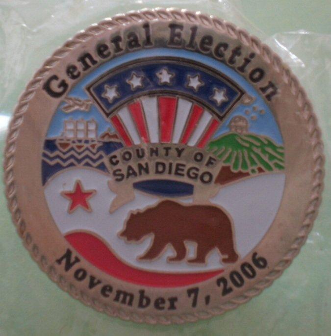 General Election Pin 2006 San Diego County Bullseye Custom Silvertone Metal