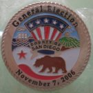 General Election Pin 2006 San Diego County Bullseye Custom Silvertone Metal