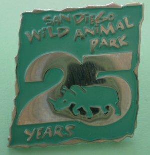 San Diego Wild Animal Park Pin 25 Years Enamel Silvertone Metal