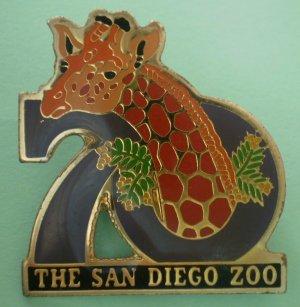 San Diego Zoo 70th year Giraffe Enamel Goldtone Metal