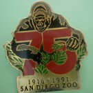 San Diego Zoo 75th year Gorilla Enamel Goldtone Metal