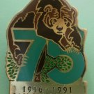 San Diego Zoo 75th year Bear Enamel Goldtone Metal