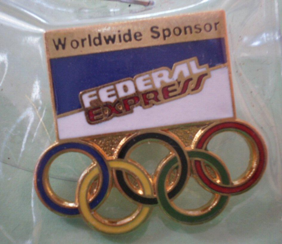 Federal Express Olympics Pin Worldwide Sponsor Goldtone Metal