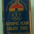 Disneyland Olympic Team Pin Salute 1988 Enamel Goldtone Metal