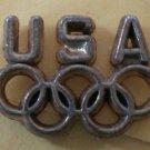 USA Olympics Pin Brasstone Metal Rings