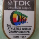 Athletics World Championships Pin 1987 Rome TDK Official Tape Supplier