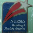 Nurses Nursefinder Pin Silvertone Metal Star Building a Healthy America