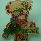 Coco's Strawberry Fest Pin 1991 Restaurant Enamel Goldtone Metal