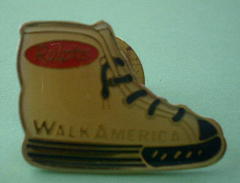 Ralphs Pin Grocery Employee Pinback Shoe Walk America sneakers