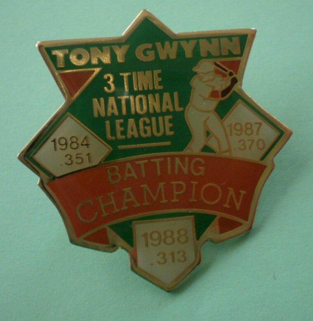 Tony Gwynn Pin San Diego Padres 3 Time National League Batting Champion 84 87 88