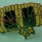 Army Pin Enamel Goldtone Metal Yellow Black