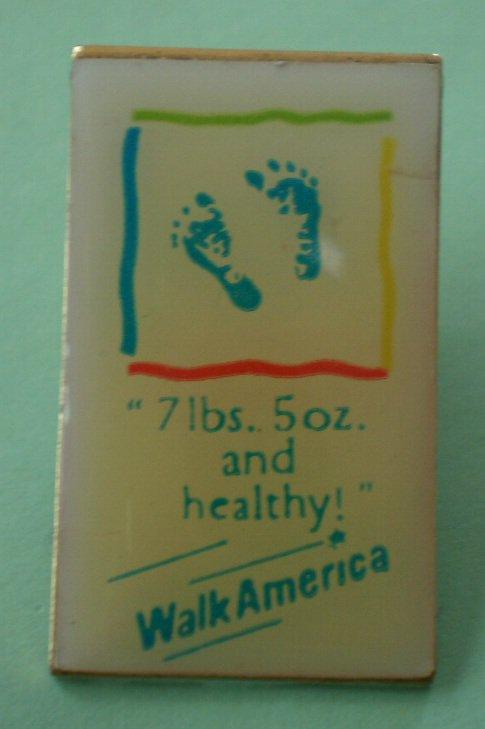 Walk America Pin 7lbs 50z and Healthy Enamel Goldtone Metal