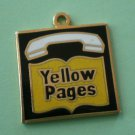 Yellow Pages Charm Phone Book Enamel Goldtone Metal