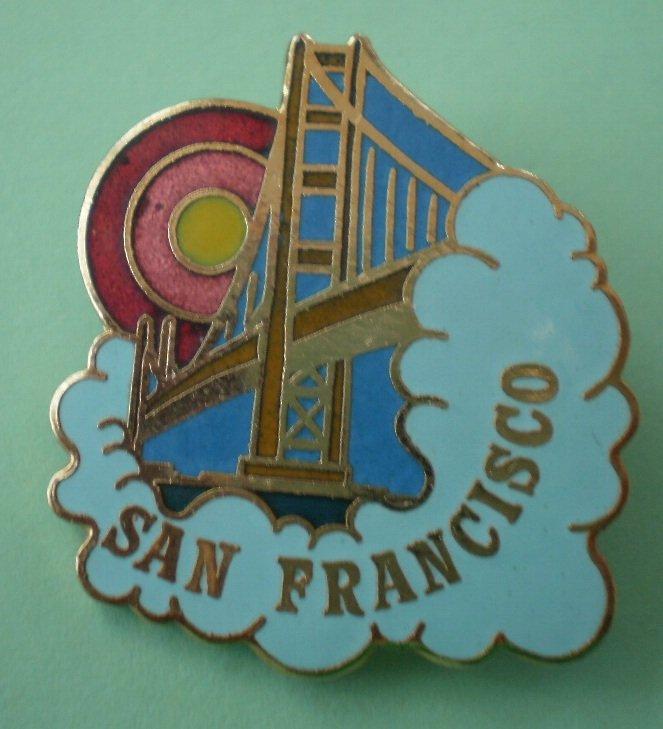 San Francisco Pin Cloud Bridge Sun Goldtone Metal California