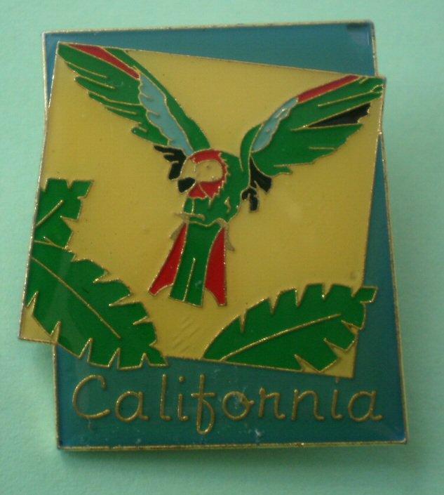 California Pin Parrot Palm Trees Goldtone Metal Bird
