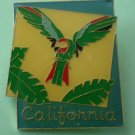 California Pin Parrot Palm Trees Goldtone Metal Bird