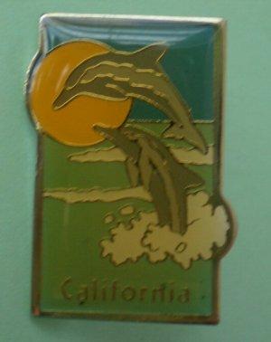 California Pin Dolphins Ocean Goldtone Metal