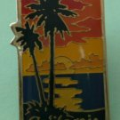 California Pin Palm Trees Ocean Goldtone Metal