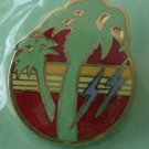 Palm Trees Lightning Pin Goldtone Metal NOS
